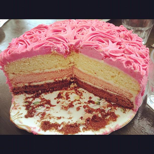 Neopolitan Rosette Cake