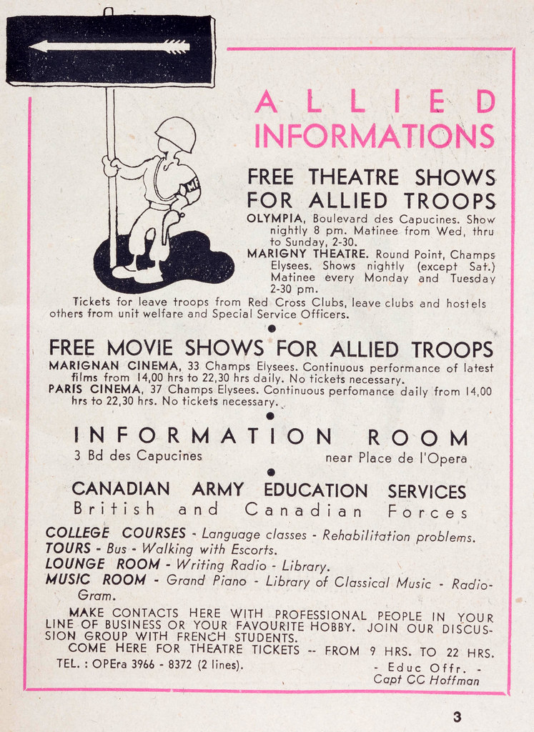 1940s WW II World War 2 information sheet for free theater