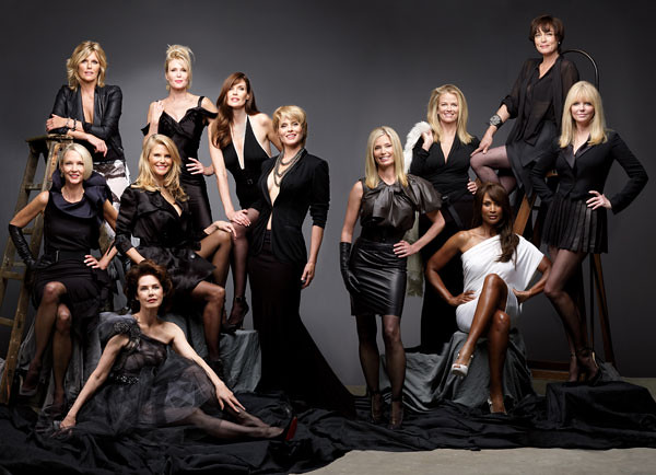 a group of older supermodels dressed in black and white posing for the camera