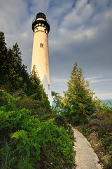 """Lightkeepers Path""   South Manitou Island Lighthouse Sleeping Bear Dunes National Lakeshore by Michigan Nut"