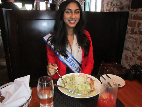 Megha Sandhu eats her dinnert at Pure Spirits