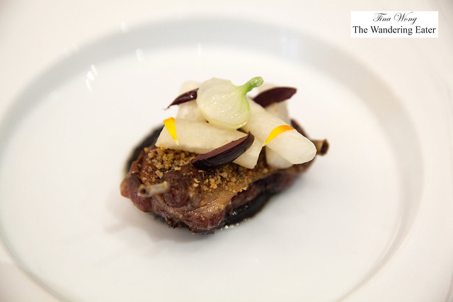 Grilled and glazed pigeion, truffle, olive with steamed turnips