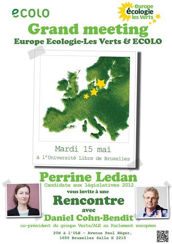 "15 mai, 20h, ULB : rencontre ""EELV"" Daniel Cohn-Bendit et Perinne Ledan"