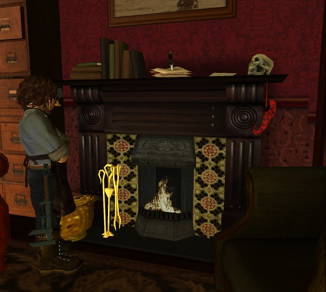 1 impact mesh fireplace by Dr. Watson. 2 with fire.