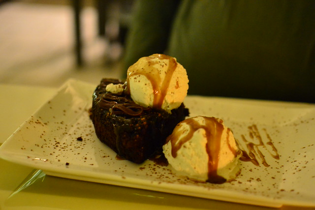 Chocolate Cake with Salted Caramel and Ice Cream