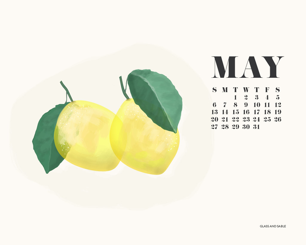 May Desktop Calendar 2012 Illustration Ciara Sames Glass and Sable lemons