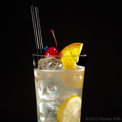 Tom Collins with Maraschino Cherry and Orange Garnish