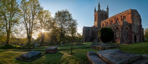 uk morning sunset tree church grass sunrise morninglight panoramic graves devon pan stitched crediton