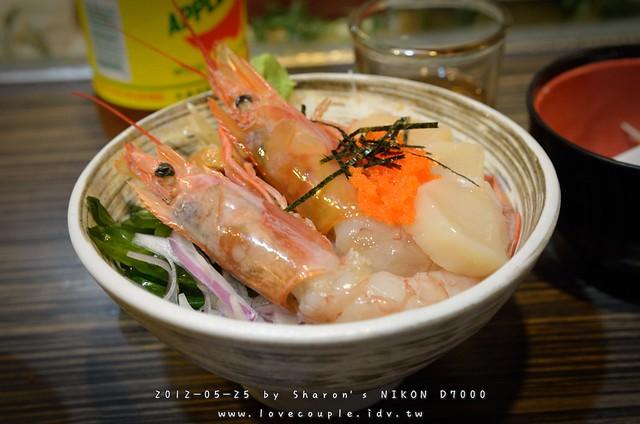 日本大甜蝦+干貝蓋飯
