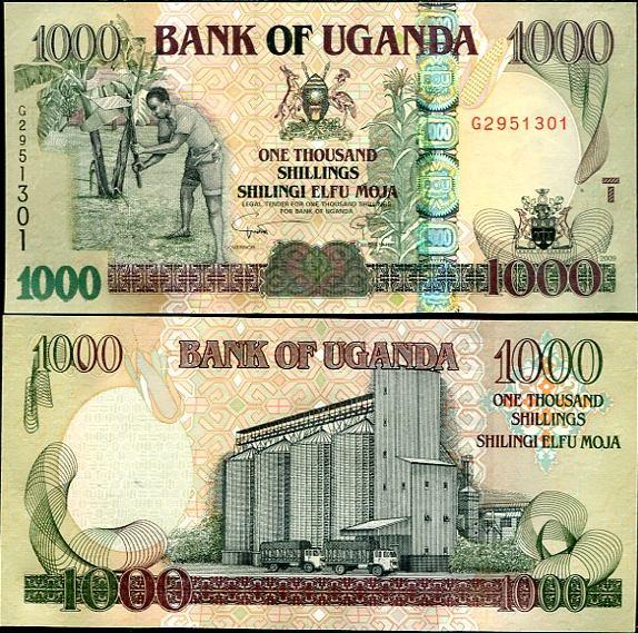 1000 Šilingov Uganda 2009, Pick 43