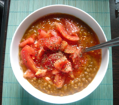 Greek Lentil Soup (Fakes) with skinless tomato & oregano