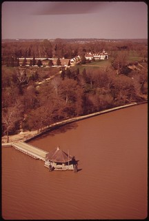 Aerial View Of Mt. Vernon. Silt Discolors The Potomac, April 1973
