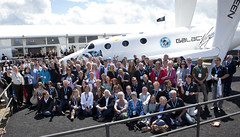Sir Richard Branson at Farnborough with the Virgin Galactic Future Astronauts. Photo by Mark Chivers.