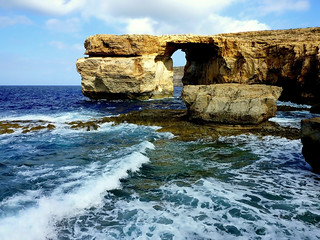 Natural bridge; the azure window on Gozo (Malta)