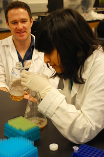 A UT Outreach student in the lab