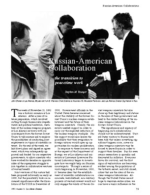 Russian-American Collaboration, The Transition to Peacetime