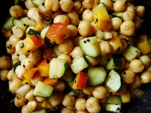 Chickpea Cucumber Peach Salad
