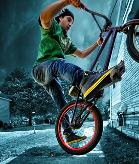 One footed 180 Extreme BMX
