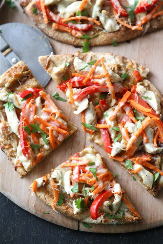 Thai Chicken Naan Pizza Recipe with Peanut Sauce, Red Pepper & Carrots