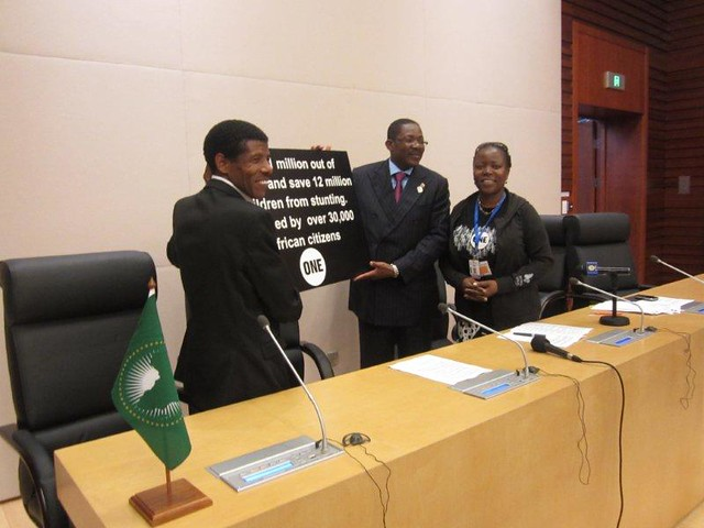 Haile Gebrselassie presents ONE's petition