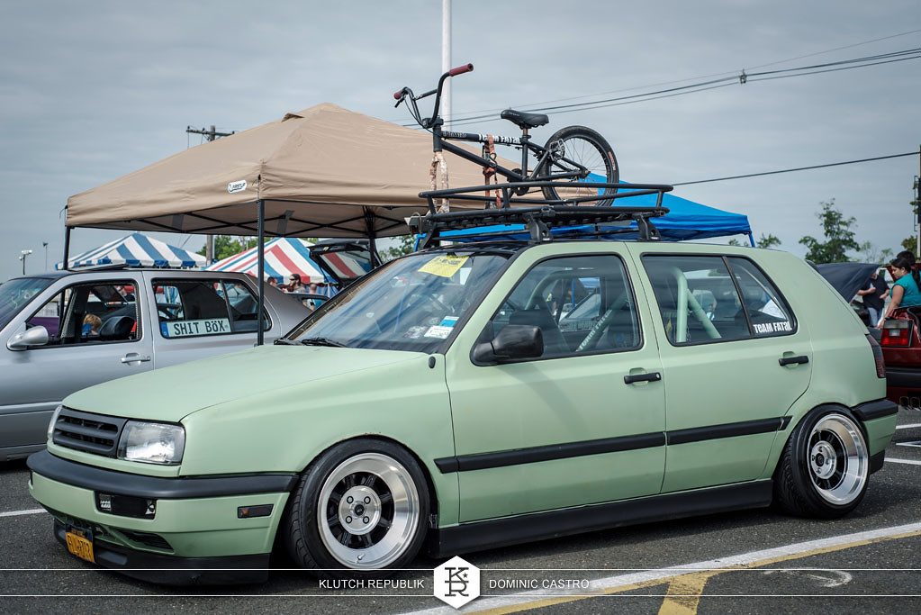green mk3 vw golf step lips  at waterfest 18 2012 3pc wheels static airride low slammed coilovers stance stanced hellaflush poke tuck negative postive camber fitment fitted tire stretch laid out hard parked seen on klutch republik