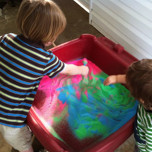 Boys try out their new sensory/sand table this afternoon. #montessori
