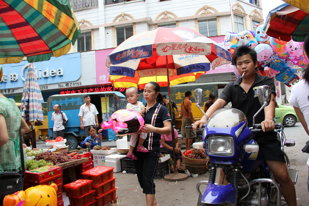 The lively marketplace