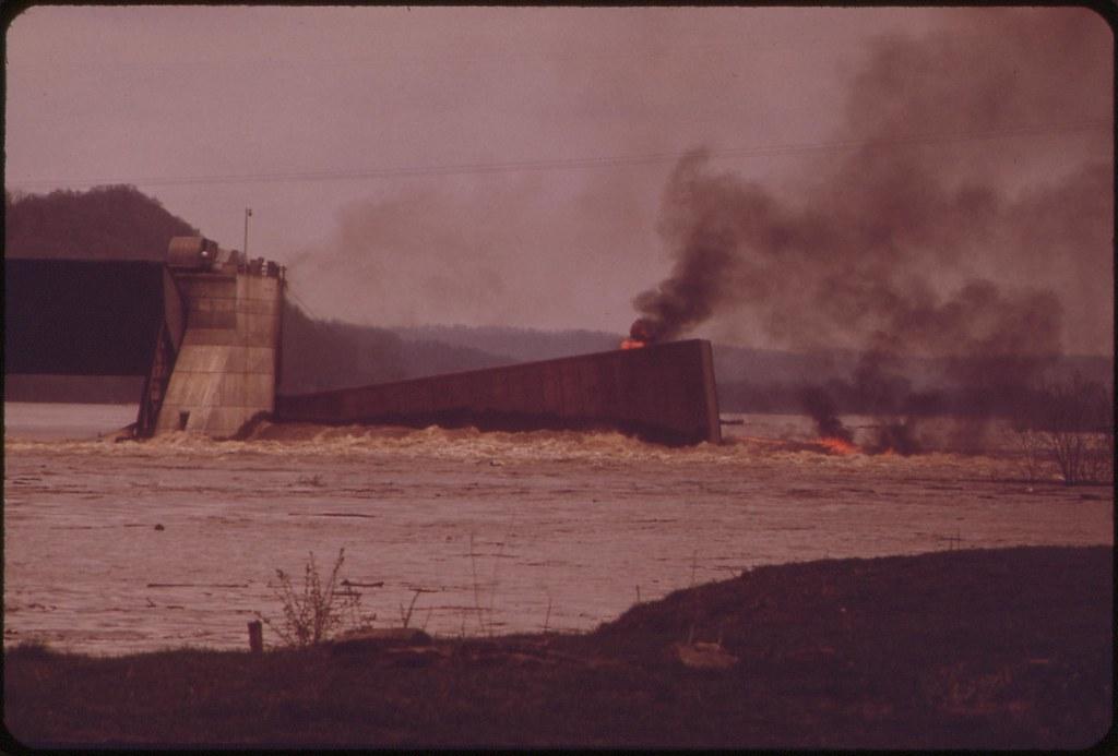 Burning Barge On The Ohio River, May 1972