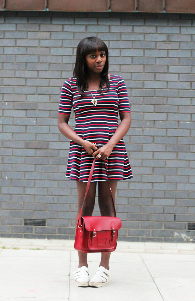 Motel indah stripe dress red satchel