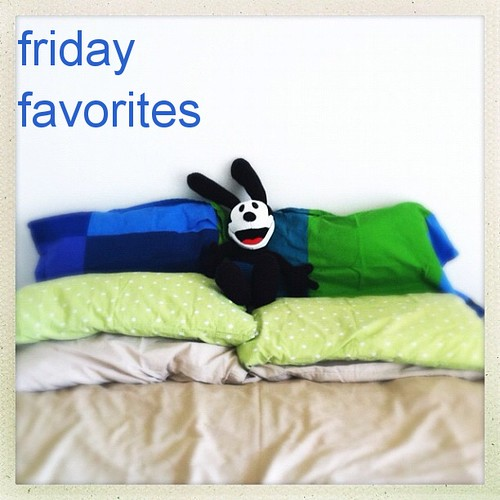 This might be happening on our summery themed bed right now. #justgothappier #dca #oswald #disney #whatwouldwaltdo