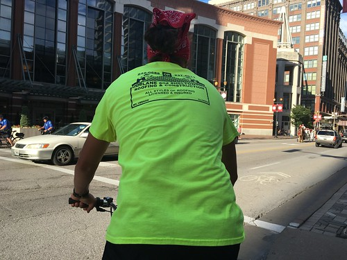 Selfie, riding in one of those pedicabs in St. Louis
