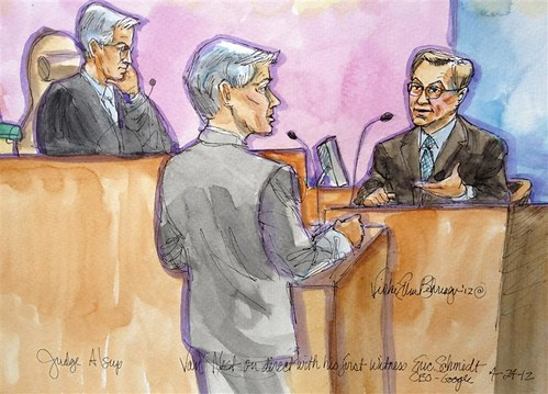 Eric Schmidt (R), who was Google's CEO for 10 years before assuming the role of executive chairman last year, is pictured in a court sketch being questioned by Google lawyer Robert Van Nest as U.S. District Judge William Alsup (L) watches during a trial. by Pan-African News Wire File Photos