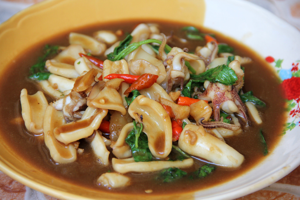 Thai squid with holy basil