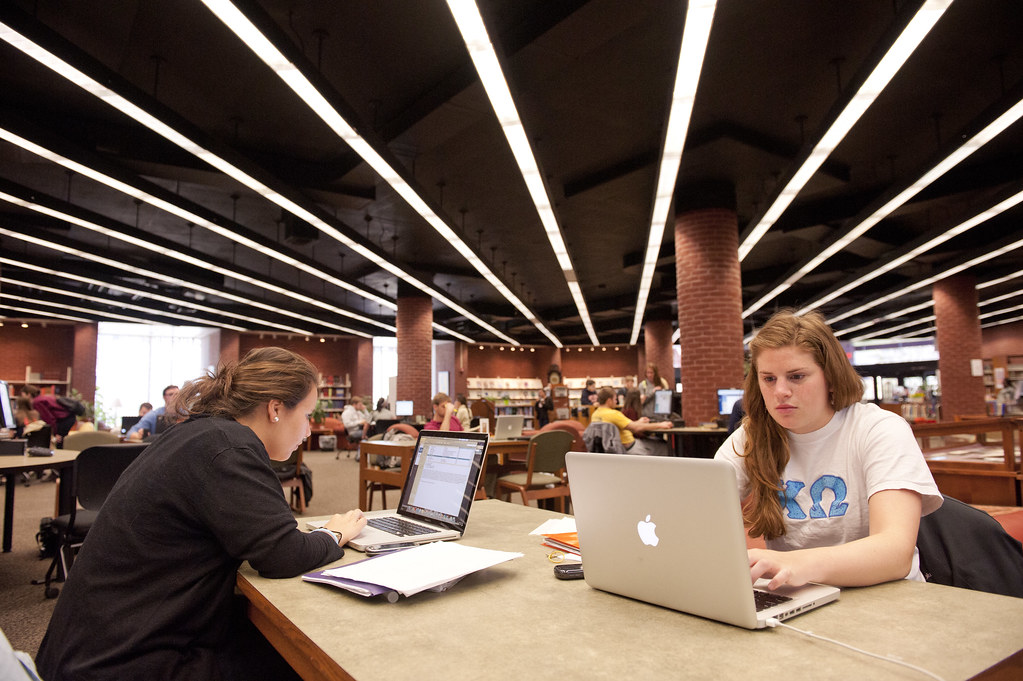 Gettysburg's Musselman Library -- open 24 hours a day during the week -- is an important resource for the campus community.