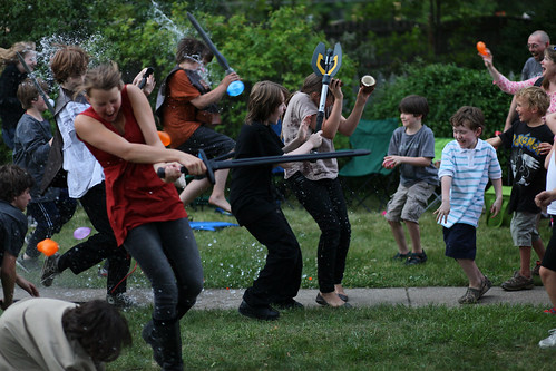 Grailwood: Actors realizing audience is armed with water balloons