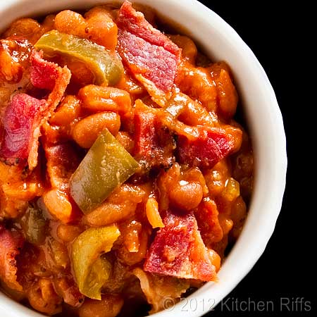 Baked Beans with Bacon in White Ramekin, Overhead View
