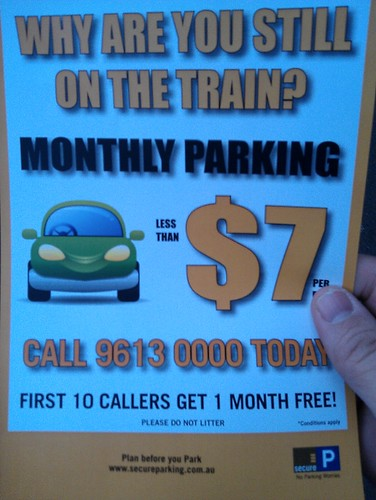 """Why are you still on the train?"" parking brochure"