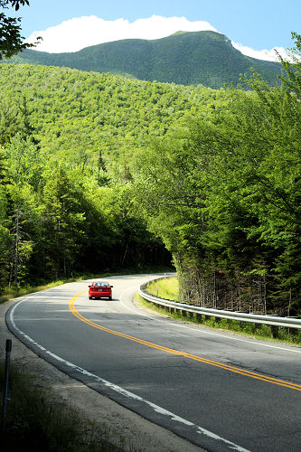 Driving along the Kancamagus Highway  on White Mountain National Forest, Lincoln, N.H.