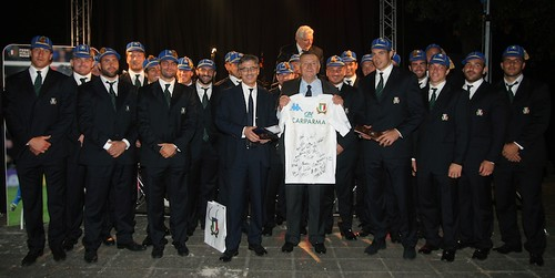 Italian rugby team capping ceremony.
