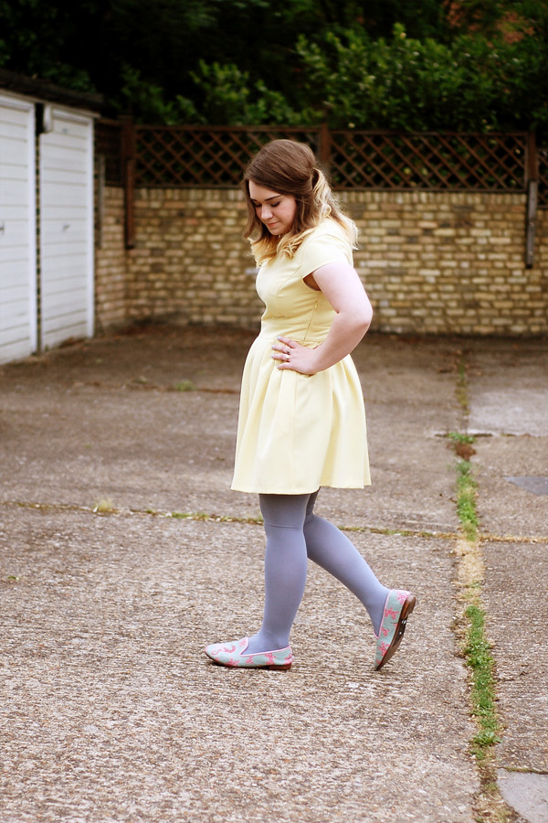 Wardrobeblock : Miss Selfridge yellow dress lace collar Topshop baby blue tights Thrifted seahorse shoes