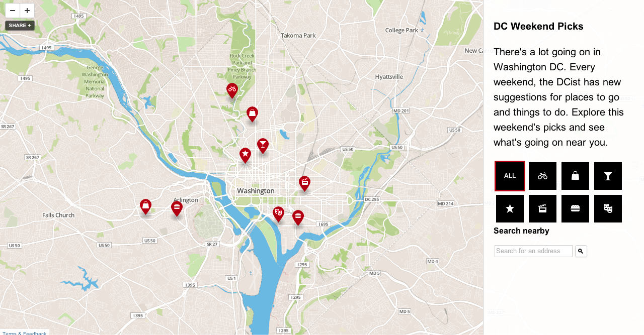 Screenshot of map site template
