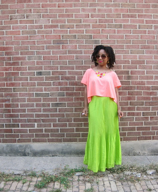 peach top and neon maxi 1