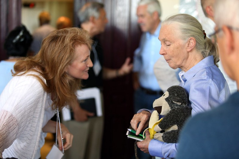 Krista Tippett speaks with Jane Goodall at the Halki Summit in Istanbul, Turkey