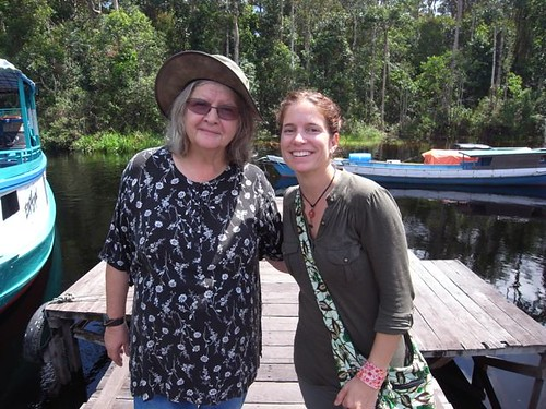 Holly meets Dr Birute Galdikas at Camp Leakey