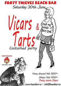 diani beach  Costumed party VICARS & TARTS  Forty Thieves Beach Bar  30th June