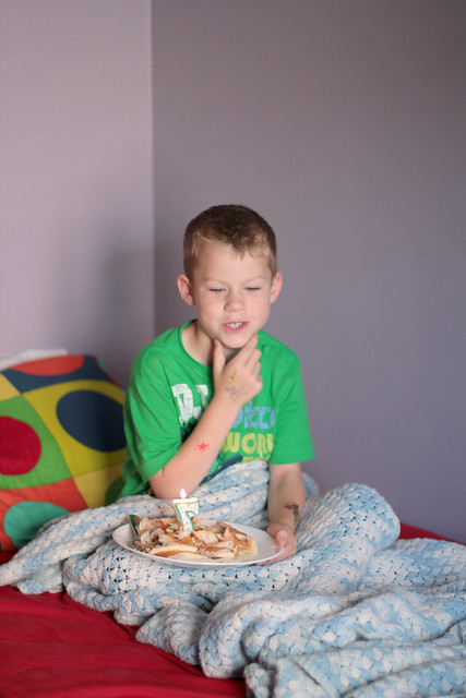 Benjamin's traditional birthday breakfast in bed