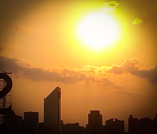 Sweltering Summer Sunset - Cell Phone Shot from Queensborough Plaza NYC