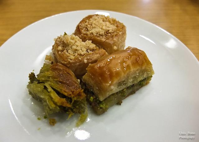 Baklavas, dulces a base de miel y pistachos típicos de Oriente Medio