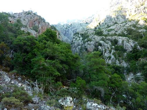 Sur la sente des chasseurs : traversée des rochers à l'arrivée au 1er ruisseau