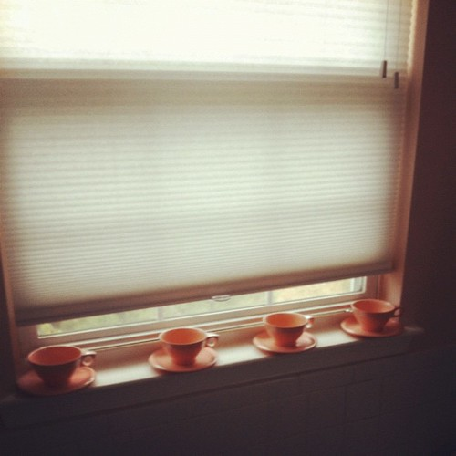 I found four #melmac #boontonware cups & saucers for  88 cents a piece. The now live on my bathroom window